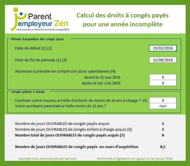 Calculateur De Conges Parent Employeur Zen