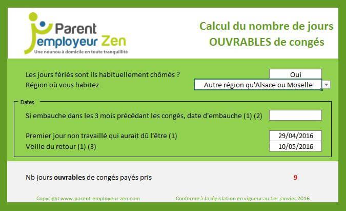 Calculateur De Conges Parent Employeur Zen
