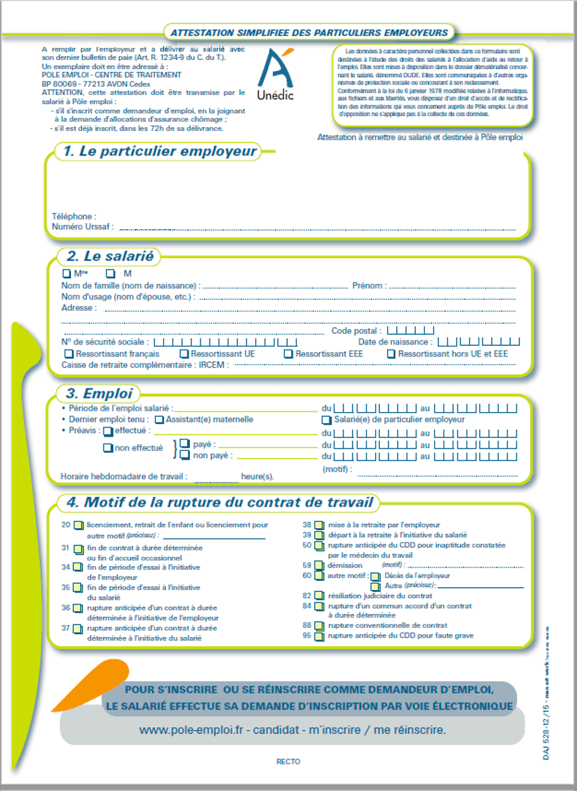 attestation employeur unedic