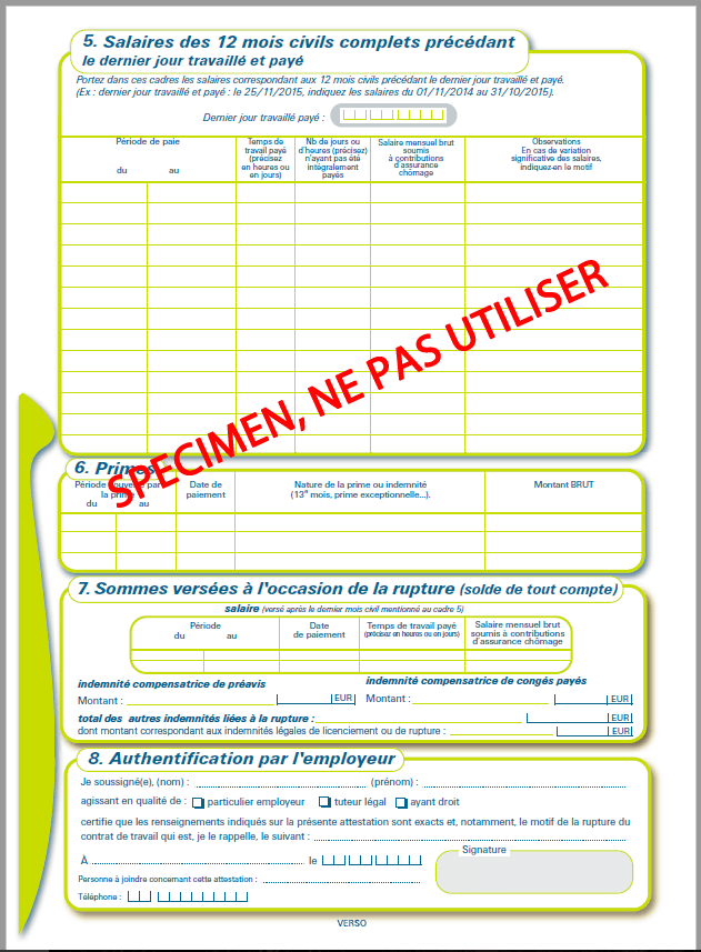attestation employeur assedic